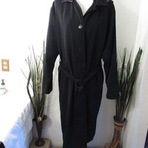 Black Hooded Trench Rain Coat Sz 8 Button Front